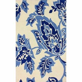 nuLOOM Handmade Flatweave Leaves Blue Wool Rug