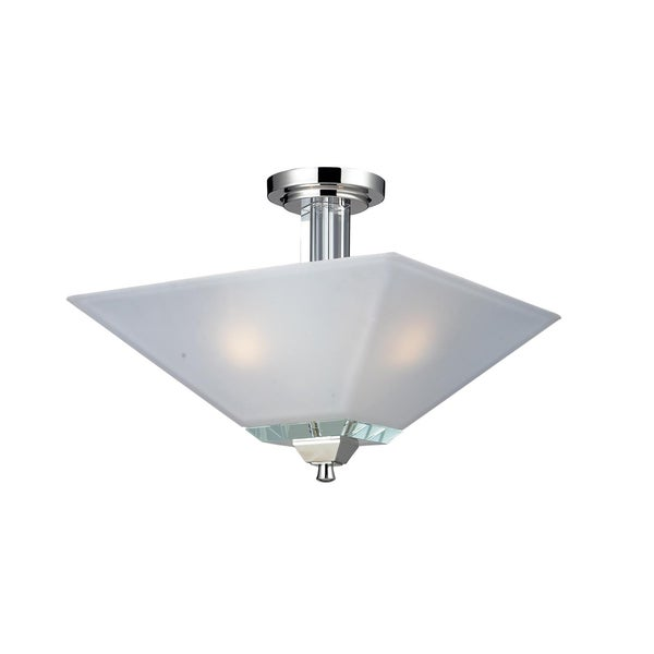 Luxe Chrome 3-light Semi Flush-mount Fixture
