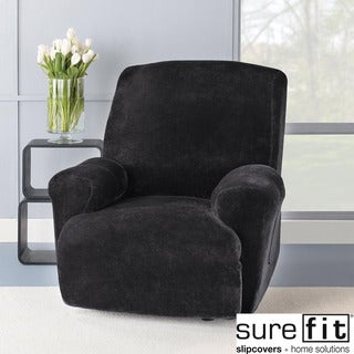 Stretch Plush Black Recliner Slipcover