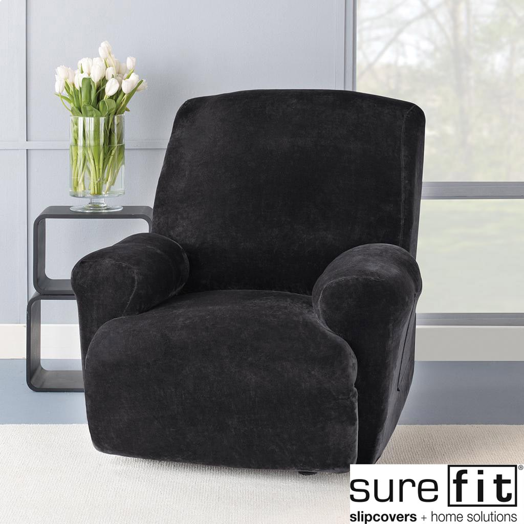 AT HOME by O Stretch Plush Black Recliner Slipcover at Sears.com