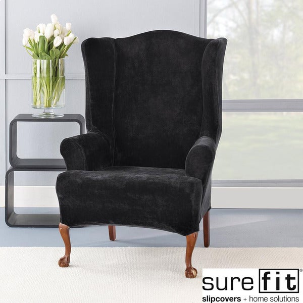 Stretch Plush Black Wing Chair Slipcover