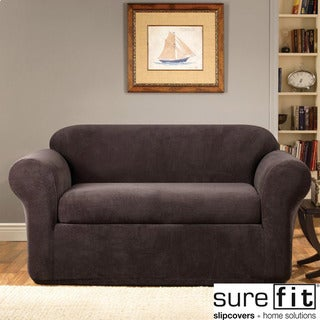 Stretch Metro Two-piece Espresso Sofa Slipcover