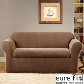 Stretch Metro Two-piece Brown Sofa Slipcover