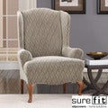 Stretch Braid Pebble Wing Chair Slipcover