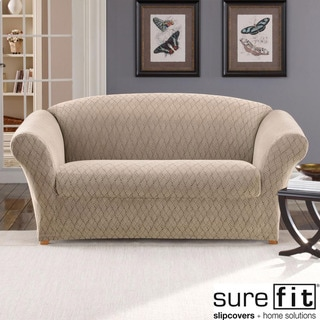 Stretch Braid Camel Loveseat Slipcover