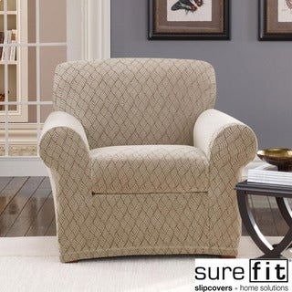 Stretch Braid Camel Chair Slipcover