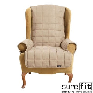 Soft Suede Taupe Waterproof Wing Chair Cover