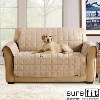 Soft Suede Taupe Waterproof Loveseat Protector