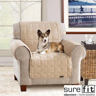 Soft Suede Taupe Waterproof Chair Protector