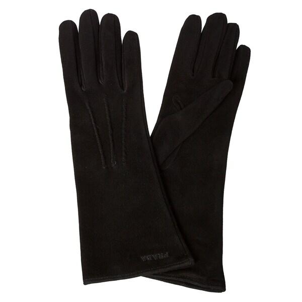 Prada Black Suede Pin-tucked Long Gloves