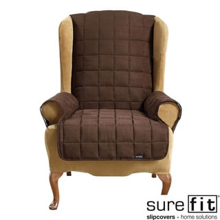 Soft Suede Chocolate Waterproof Wing Chair Cover