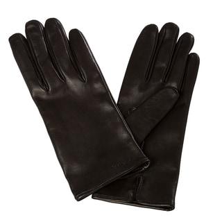 Prada Women's Embroidered Black Lambskin Leather Gloves