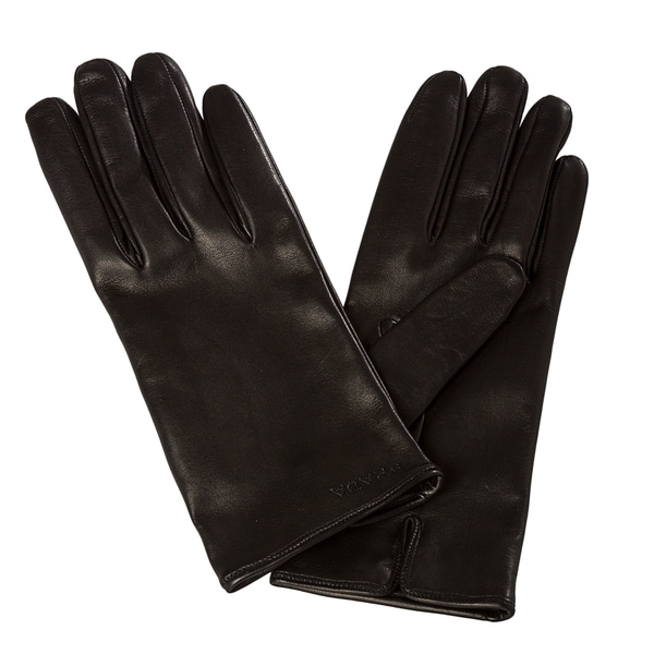 Prada Women's Embroidered Black Lambskin Leather Gloves