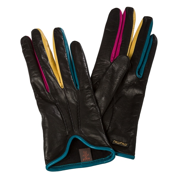 Miu Miu Black Multi Pintucked Lambskin Gloves