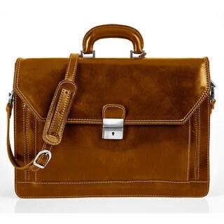 Alberto Bellucci Stylish Honey Triple Compartment Laptop Briefcase