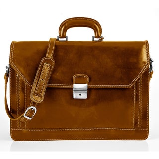Alberto Bellucci Stylish Honey Triple Compartment Briefcase