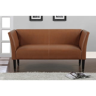 Marcella Tan Bonded Leather Loveseat with Bronze-capped Legs