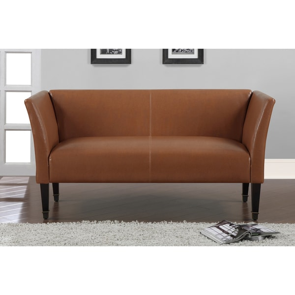 Marcella Tan Bonded Leather Loveseat With Bronze Capped Legs