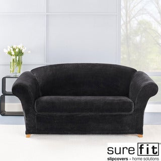 Sure Fit Stretch Plush Black Loveseat Slipcover