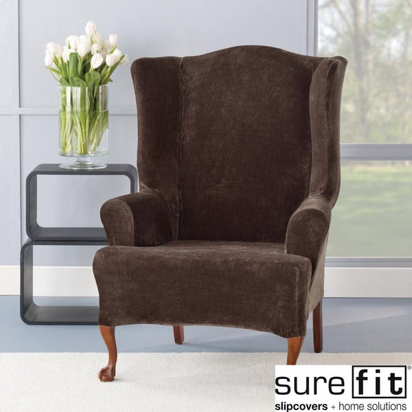 Sure Fit Stretch Plush Chocolate Wing Chair Slipcover ...