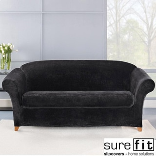 Sure Fit Stretch Plush Black Sofa Slipcover