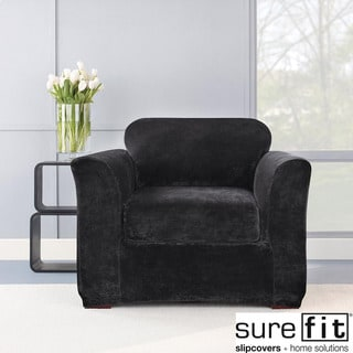 Sure Fit Stretch Plush Black Chair Slipcover