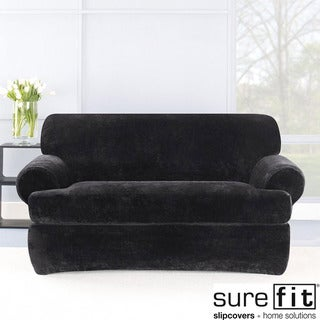 Stretch Plush Black T-cushion Loveseat Slipcover