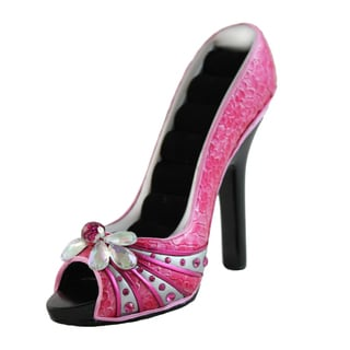 Jacki Design Pink Gems Shoe Design Ring Holder