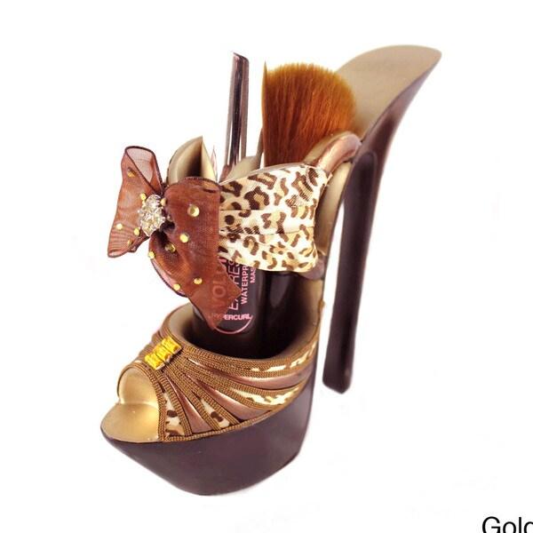 Jacki Design Pin-up Cheetah Platform Shoe Brushes/ Pen Holder
