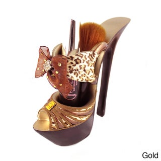Pin-Up Cheetah Platform Shoe Makeup Brush Holder