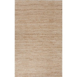 Natural Traditional Solid Jute/Cotton Beige/Brown Rug (5' x 8')