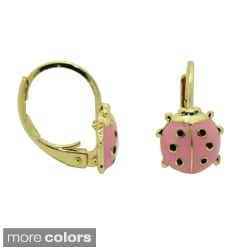 18k Yellow Gold Overlay Enamel Ladybug Leverback Earrings