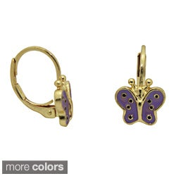 Junior Jewels 18k Yellow Gold Overlay Enamel Butterfly Leverback Earrings