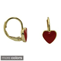 18k Yellow Gold Overlay Enamel Heart Leverback Earrings