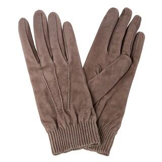 Prada Taupe Suede Pin-tucked Elastic Wrist Gloves