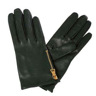 Prada Hunter Green Lambskin Side Zipper Gloves