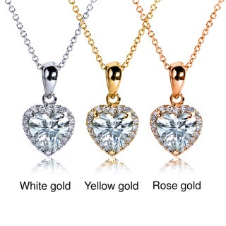 14k Gold Heart-cut Moissanite and 1/8ct TDW Diamond Necklace (G-H, I1-I2)