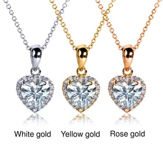 Annello 14k Gold Heart-cut Moissanite and 1/8ct TDW Diamond Necklace (G-H, I1-I2)