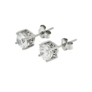 CW Sterling Silver Women's White Cubic Zirconia Stud Earrings