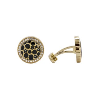 Christian Bernard Goldtone Steel Men's Black Onyx and CZ Cuff Links