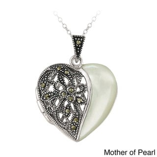 Glitzy Rocks Sterling Silver Onyx and Marcasite Heart Locket Necklace