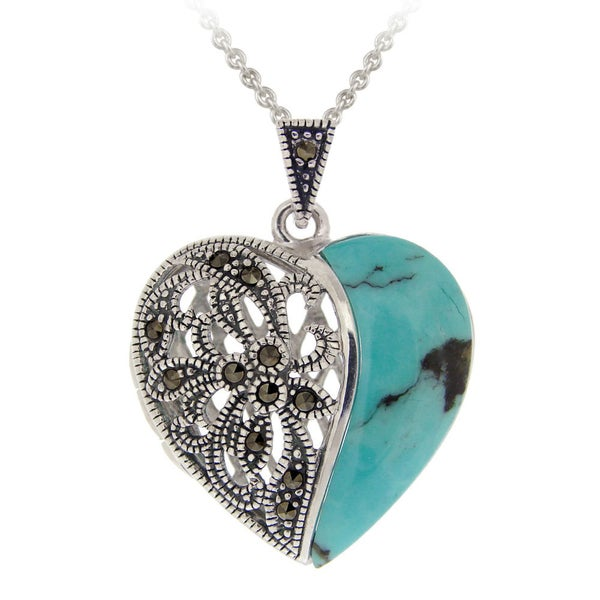 Glitzy Rocks Sterling Silver Onyx and Marcasite Heart Locket Necklace 856149