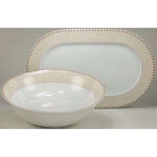 Create a Table European Two-Piece Oxford Decor Fine Porcelain Completer/Serving Set