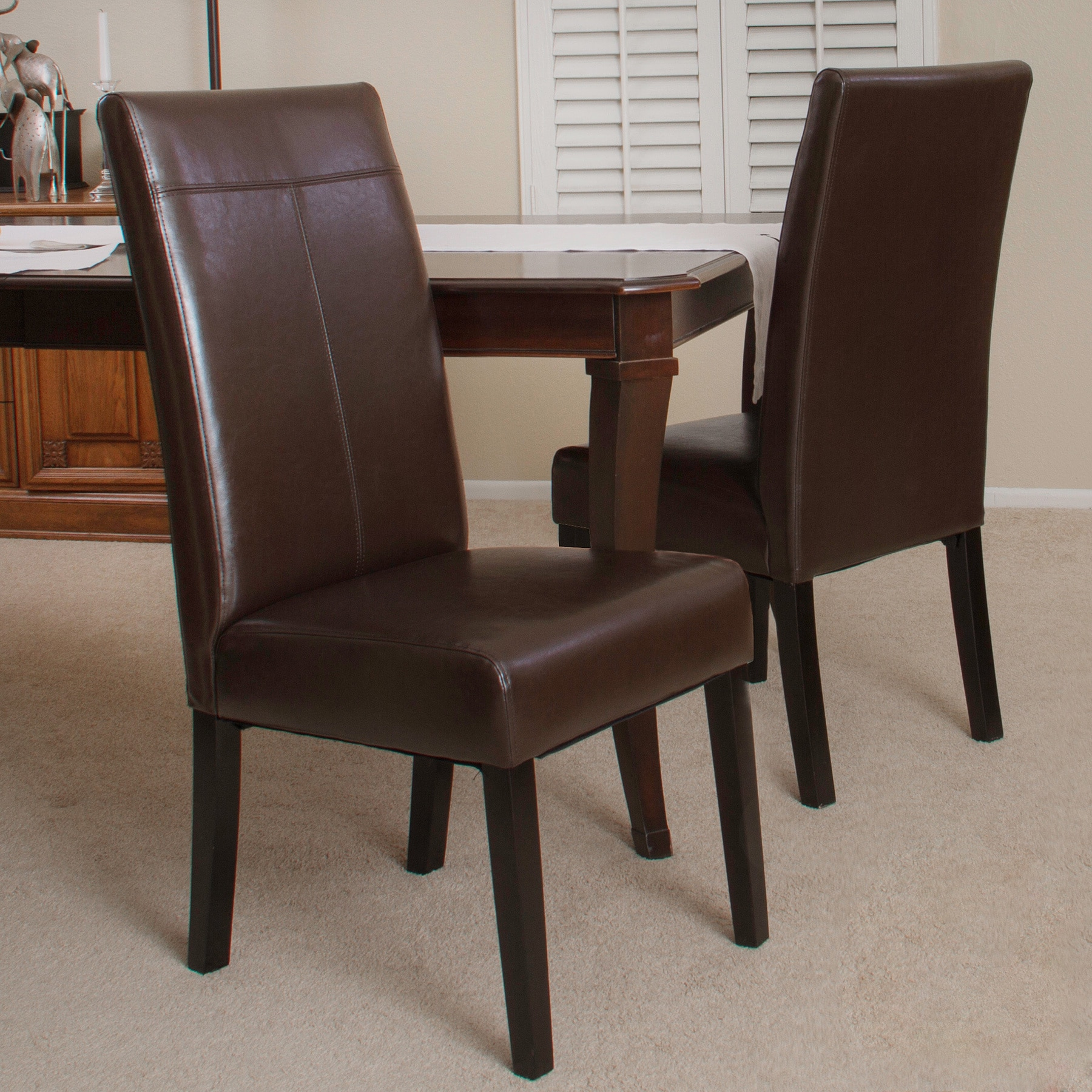 Christopher Knight Home Lissa Chocolate Brown PU Dining