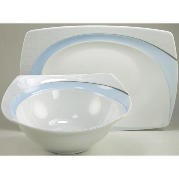 Create a Table European Two-Piece Blue Elegance Decor Fine Porcelain Completer/Serving Set