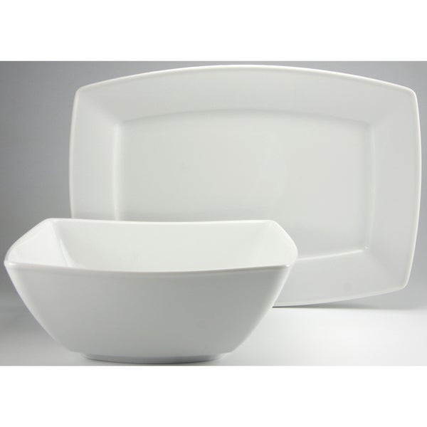 Create a Table European Two-Piece Carrara White Decor Fine Porcelain Completer/Serving Set