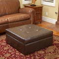 Christopher Knight Home Chatsworth Brown Leather Storage Ottoman