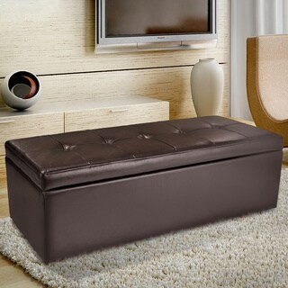 Christopher Knight Home Abigail Brown Leather Storage Ottoman