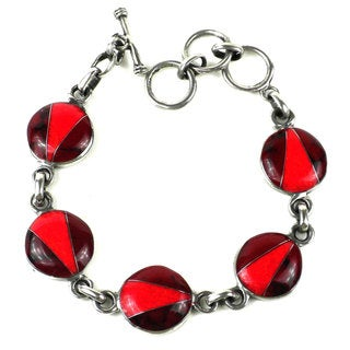 Handcrafted Mexican Alpaca Silver and Red Jasper Disk Bracelet (Mexico)