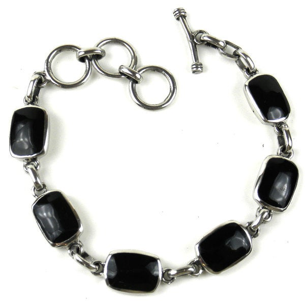 Handcrafted Mexican Alpaca Silver and Onyx Bracelet (Mexico)